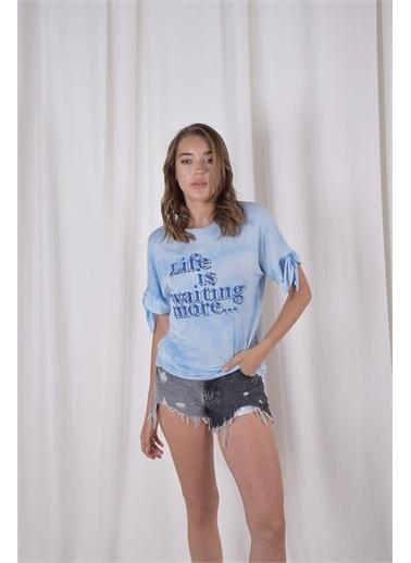 iandb Baskılı Kol Detaylı Tshirt Ava Mavi